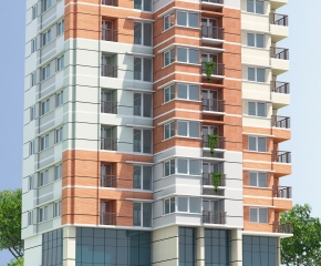 3D view - 10+1 storied commercial cum residential building of Ashraful Alam & Associates at Biswas Betka, Tangail.